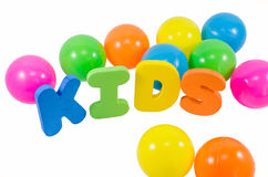 As crianças das palavras com bolas Imagens de Stock Royalty Free
