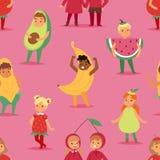 As crianças das crianças party a máscara dos desenhos animados do vetor do traje dos frutos e vestem o Natal extravagante festivo Imagem de Stock