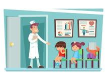 As crianças doentes no doutor que senta-se em personagens de banda desenhada das cadeiras vector a ilustração ilustração royalty free
