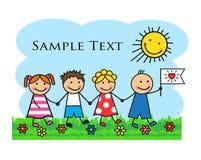 As crianças dos desenhos animados atravessam a grama e as mãos guardar Imagens de Stock Royalty Free