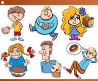 As crianças e os doces ajustaram desenhos animados Fotos de Stock Royalty Free