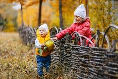 As crianças em revestimentos coloridos andam no parque do outono imagem de stock