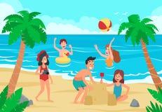 As crianças encalham O divertimento das crianças felizes na praia da areia da costa de mar, no banho de sol das crianças e no vet ilustração do vetor