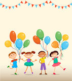 As crianças estão saltando o caráter engraçado do vetor dos desenhos animados do bunner do fundo do verão do ob Ilustração Foto de Stock Royalty Free