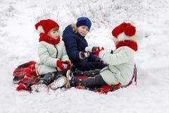As crianças estão sentando-se em uma manta e em um chá bebendo no inverno imagens de stock royalty free