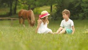 As crianças estão sentando-se no gramado no parque, são fala agradável e ter do divertimento Movimento lento filme