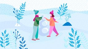 As crianças fazem o boneco de neve no parque Ilustração lisa ilustração do vetor