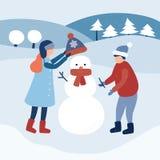 As crianças fazem um boneco de neve inverno e crianças Vetor ilustração do vetor