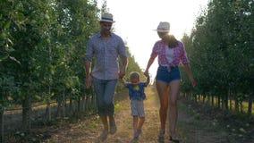 As crianças felizes, família dos aldeões nos chapéus estão tendo o divertimento no jardim da maçã durante a estação da colheita filme