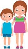 As crianças irmão e irmã estão em desenhos animados completos do vetor do comprimento Imagens de Stock Royalty Free