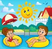 As crianças na nadada soam a imagem 3 ilustração stock