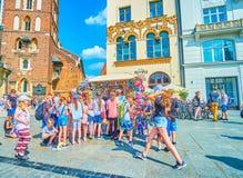 As crianças no brinquedo param em Krakow, Polônia Imagem de Stock Royalty Free