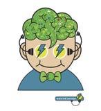 As crianças pensam com ícones da educação, conceito de pensamento da educação, Imagens de Stock Royalty Free