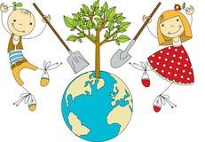 As crianças plantam para o planeta ilustração stock
