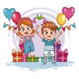 As crianças que saltam na festa de anos ilustração royalty free