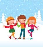As crianças são dia de inverno feliz Fotografia de Stock Royalty Free