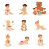 As crianças sentam-se com brinquedos Imagens de Stock Royalty Free