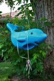 As crianças sujas abandonadas do golfinho da degradação balançam no jardim da frente fotos de stock