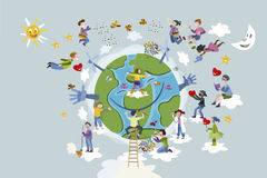 As crianças tomam da terra do planeta ilustração stock