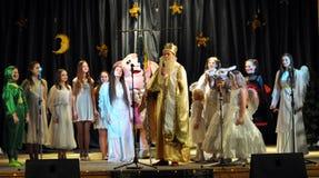 As crianças ucranianas comemoram o _5 de St_ Nicholas Day Imagens de Stock