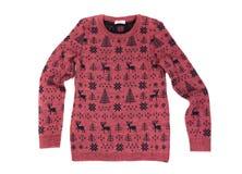 As crianças vermelhas fizeram malha a camiseta com um teste padrão dos cervos Isolado em w imagem de stock