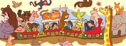 As crianças viajam com o safari da região selvagem pelo trem ilustração stock