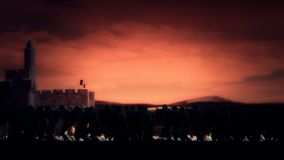 As cruzadas Knights a marcha no Jerusalém video estoque