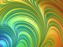 As curvas verdes do sumário, alaranjadas e azuis textured do fractal, 3d rendem para o projeto e o entretenimento r ilustração stock