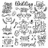As decorações bonitos para os convites do casamento, folhas de prova com texto salvar a data Coleção do vetor de lemas escritos à ilustração do vetor