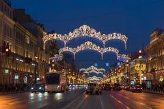 As decorações do Natal da cidade Fotos de Stock