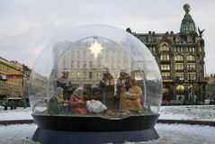 As decorações do Natal e do ano novo 2018 no Kazan esquadram em St Petersburg Fotografia de Stock