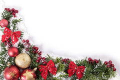 As decorações do Natal encurralam o quadro da beira com espaço branco da cópia imagens de stock