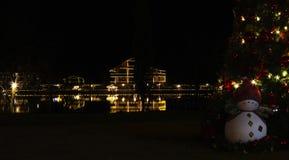 As decorações e as festões do feriado em casas na costa do lago são refletidas na água na noite imagem de stock