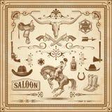 As decorações ocidentais selvagens ajustaram 3 ilustração royalty free