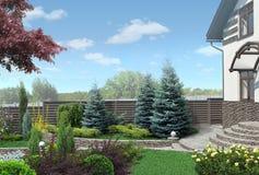 As disposições da planta do panorama do jardim da frente, ajardinando 3D rendem Imagem de Stock Royalty Free
