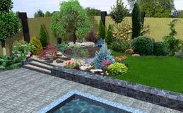 As disposições da planta do projeto da paisagem, 3D rendem Fotos de Stock Royalty Free