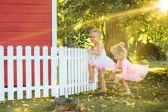 As duas meninas no campo de jogos contra o parque ou a floresta verde Fotografia de Stock