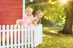 As duas meninas no campo de jogos contra o parque ou a floresta verde Foto de Stock