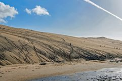 As dunas de Pilat em França, o mais alto em Europa, França fotografia de stock