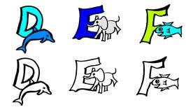 2.as e f letras del libro de colorear de la parte con las imágenes en alemán e inglés libre illustration
