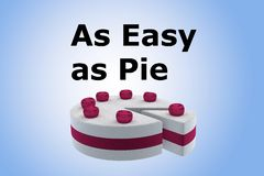 As Easy as Pie concept. 3D illustration of As Easy as Pie script above a cherry cake, isolated on blue gradient Royalty Free Stock Image