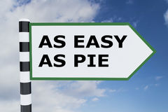 As Easy as Pie concept. 3D illustration of AS EASY AS PIE script on road sign Royalty Free Stock Photos