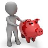 As economias de Piggybank indicam o caráter da riqueza e ganham a rendição 3d Imagem de Stock Royalty Free