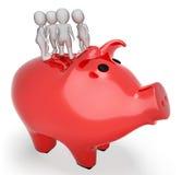 As economias de Piggybank representam rendem rendição salvar e da moeda 3d Fotos de Stock Royalty Free