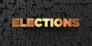 As eleições - texto do ouro no fundo preto - 3D renderam a imagem conservada em estoque livre dos direitos ilustração do vetor