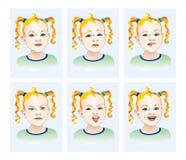 As emoções da raiva, alegria, ressentimento, tristeza Foto de Stock Royalty Free
