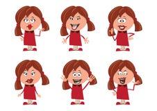 As emoções do caráter ajustaram meninas Foto de Stock Royalty Free