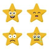 As emoções engraçadas do caráter da estrela dos desenhos animados ajustaram-se isolado no branco ilustração stock