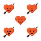 As emoções engraçadas do caráter do coração dos desenhos animados ajustaram-se, os ícones do vetor, isolados no branco Fotografia de Stock Royalty Free