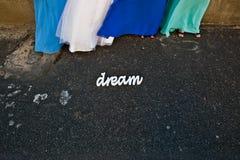As empregadas domésticas da noiva da mulher em vestidos azuis coloridos estão por um sinal sonho foto de stock